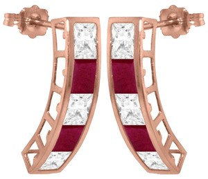 Other 4.7 CT 14K Solid Rose Gold Natural White Topaz and Ruby Earrings