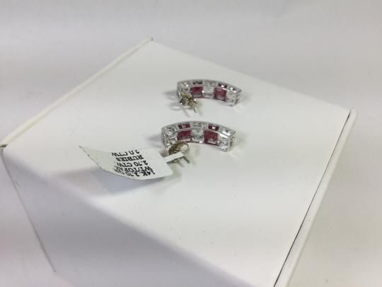 Other 4.7 CT 14K Solid White Gold Natural White Topaz And Ruby Earrings