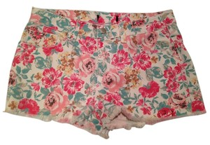Forever 21 Floral Denim Cut Off Shorts Pink Floral