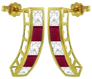 4.7 CT 14K Solid Yellow Gold Natural White Topaz and Ruby Earrings