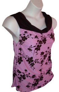 Zenobia Cown Neck Floral Pretty Top Pink and Brown