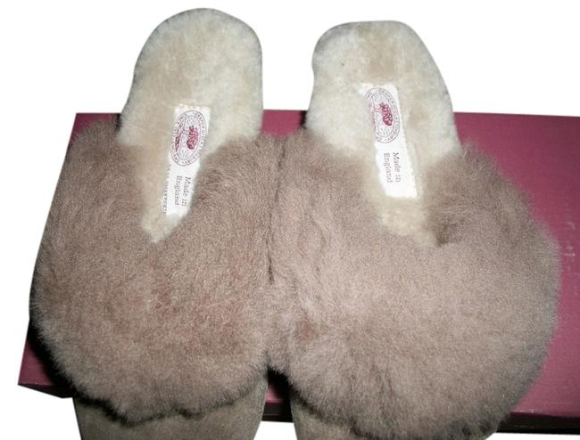 Taupe/ Brown Suede/Sheepskin Slippers Wedges Size US 6 Regular (M, B) Taupe/ Brown Suede/Sheepskin Slippers Wedges Size US 6 Regular (M, B) Image 1