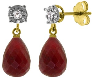Other 17.66 CT 14K Solid Yellow Gold Diamond Ruby Briolette Stud Earrings