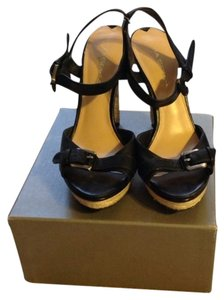 Via Spiga Black With Neutral Color Woven Heel/Platform Platforms