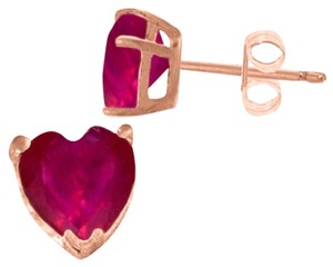 2.9 CT 14K Solid Rose Gold Heart Ruby Stud Earrings
