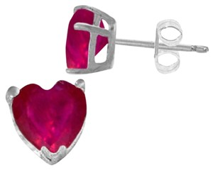 Other 2.9 CT 14K Solid White Gold Heart Ruby Stud Earrings