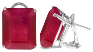 15 CT 14K Solid White Gold And Ruby French Clips Earrings