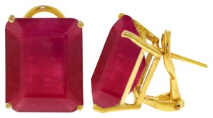 15 CT 14K Solid Yellow Gold And Ruby French Clips Earrings