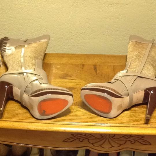 Cole Haan Taupe Leather W/Camel & White Pony Hair Boots