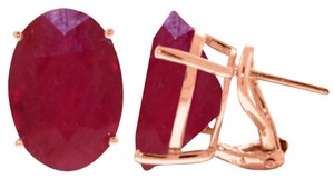 15 CT 14K Solid Rose Gold Ruby French Clip Earrings