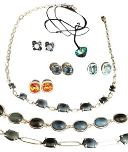 Liz Claiborne Liz Claiborne and 1928 Costume Jewelry, Lot of Blue: Bracelets, Necklace, and Earrings