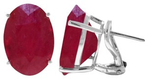 15 CT 14K Solid White Gold Ruby French Clip Earrings