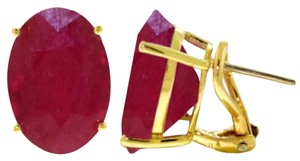 15 CT 14K Solid Yellow Gold Ruby French Clip Earrings