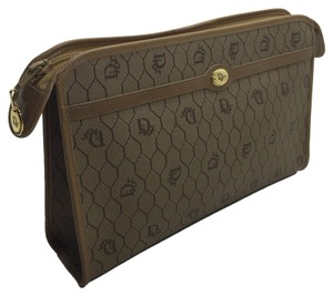 Dior Christian Dior Vintage Brown Monogram Logo Leather Clutch Pouch Cosmetic Bag