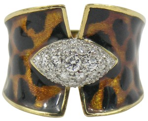 Enamel Diamond Gold Leopard Pattern Ring