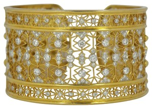 Intricate Wide Diamond Gold Cuff