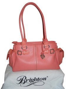 Brighton Leather Tote Satchel in salmon pink