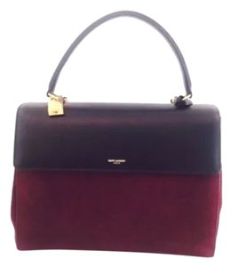 Saint Laurent Satchel in Burgundy Black