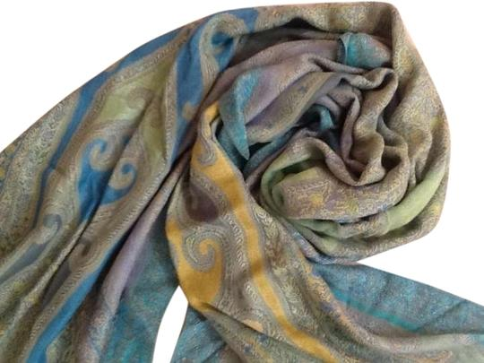 Preload https://item2.tradesy.com/images/turquoise-light-green-yellow-lavender-and-green-print-shawl-scarfwrap-340551-0-1.jpg?width=440&height=440