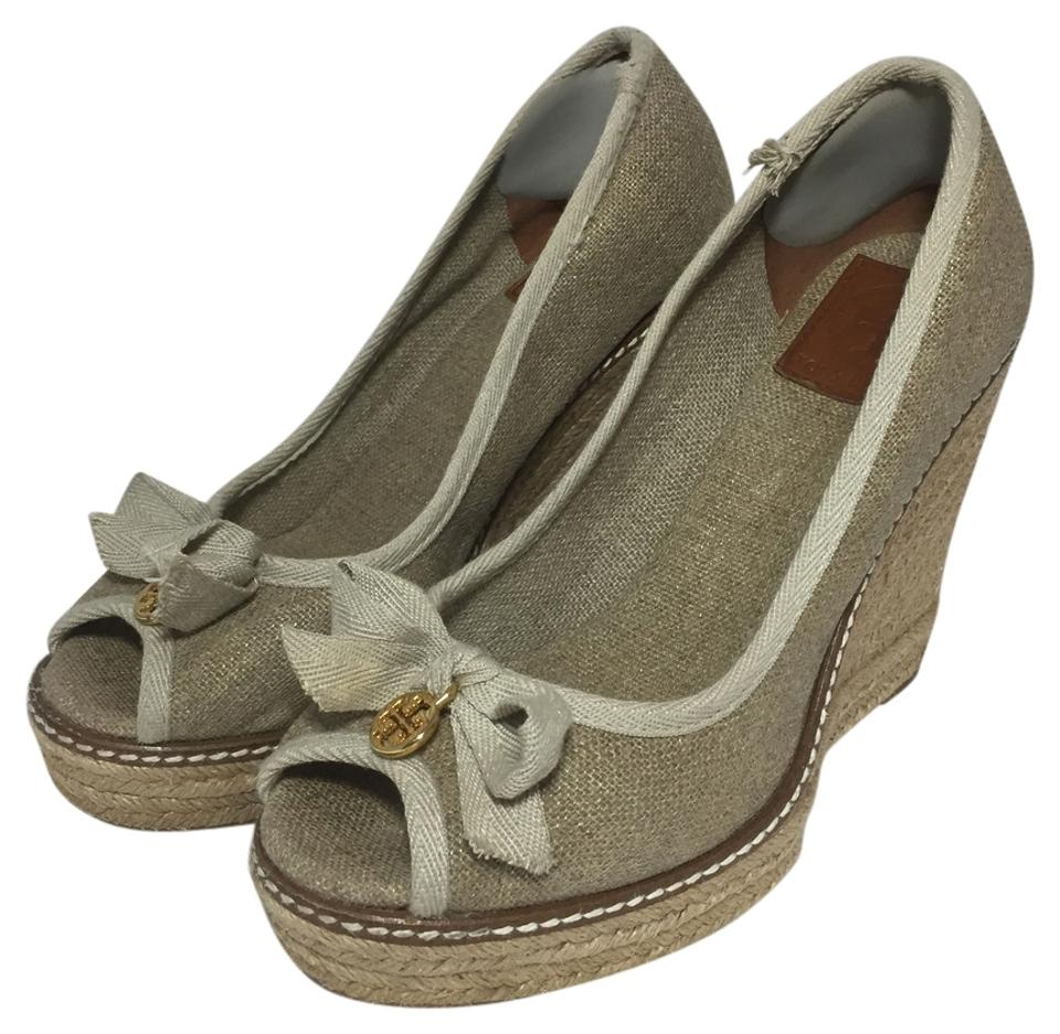 ab797bba4fb1 Tory Burch Natural Linen Jackie Espadrille Wedges Size US 7.5 ...