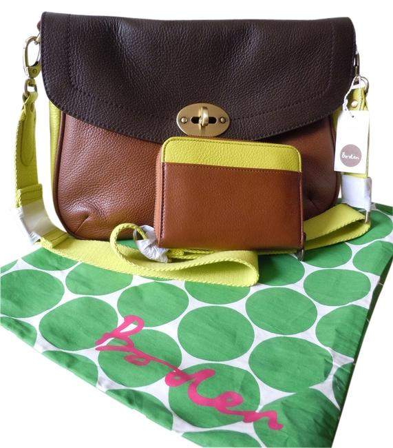 Item - Colorblock Shoulder Cross Body with Matching Wallet Set Brown Yellow Leather Messenger Bag