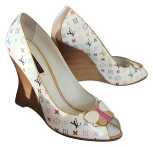 Louis Vuitton White Lv Peep Toe Wedge Embelished Logo Monogram Buckle Multicolor Pumps