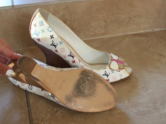 Louis Vuitton White Peep Toe Wedge Embelished Logo Monogram Buckle Multicolor Pumps