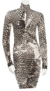 Emilio Pucci Brown Animal Print White Dress