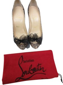 Christian Louboutin Tan and black lace Pumps