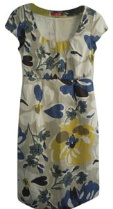 Boden Cotton Floral Cotton Lined Pockets Shift Blue Yellow White Dress