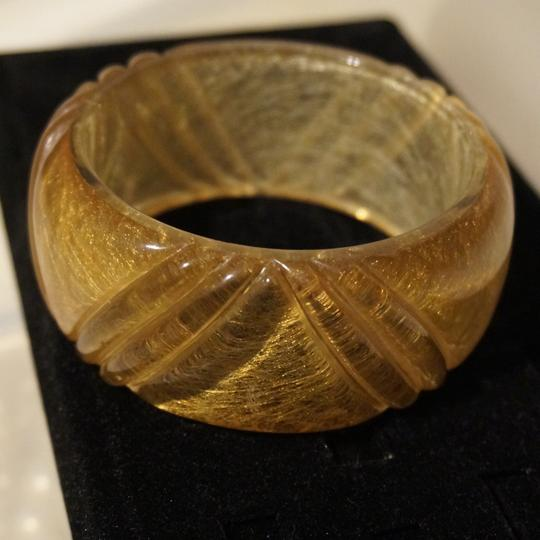 Other Chunky Vintage Carved Apple Juice Lucite Confetti Bracelet Golden Straw Bangle