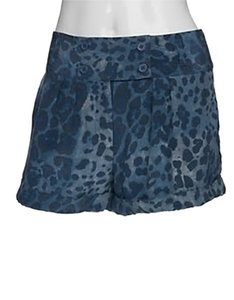 INTERMIX Silk Leopard Mini/Short Shorts Blue
