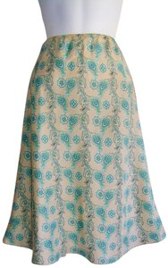Gap Silk Boho Bohemian Floral Skirt Turquoise Brown White