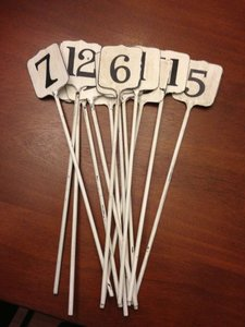 BHLDN Cream Rustic/Shabby Chic Cashier's Stake Metal Table Numbers Centerpiece
