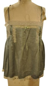 Free People Boho Bohemian Slik Lace Trim Top army green & off white