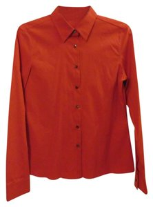 Jil Sander Orange Red Button Down Shirt Red Orange