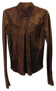 Ralph Lauren Paisley Silk Button Down Shirt Brown