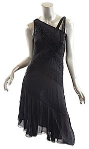 Saks Fifth Avenue Beaded Asymetrical Silk Formal Evening Dress