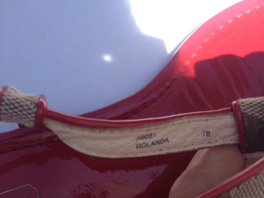 Coach Patent Leather Insignia Fabric Detailing Red Flats