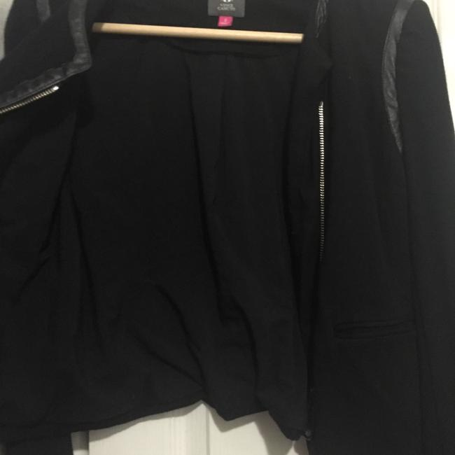 Vince Camuto Leather Cotton Asymmetric Zipper Spring Summer Fall Suiting Suit Date Night Night Out Work Office Casual Black Jacket