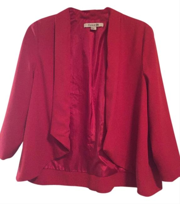 Forever 21 Jacket Night Out Casual Date Night Office Professional Suit Lipstick Lightweight Lined Red Blazer