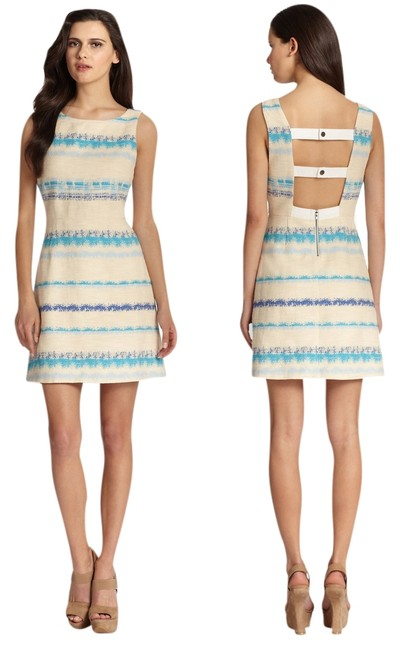 Preload https://item2.tradesy.com/images/alice-olivia-everleigh-blue-striped-strap-back-tweed-above-knee-short-casual-dress-size-10-m-3409081-0-0.jpg?width=400&height=650