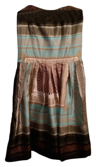 Nicole Miller Silk Strapless Geometric Dress