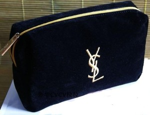 33fbf25536 Saint Laurent NEW! YSL Cosmetic Bag Black Faux-Suede Gold Embroidered Logo