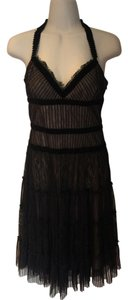BCBGMAXAZRIA Lace Black Silk Halter Dress