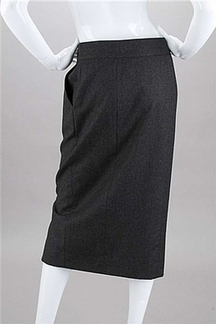 Chanel Wool Cc Logo Long Suit Skirt Grey