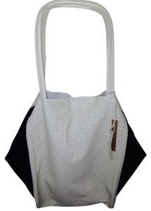 Linea Pelle Italian Leather Tote in Black & Sand