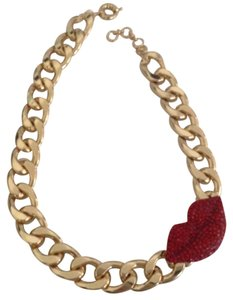 AAC Large red lips statement necklace