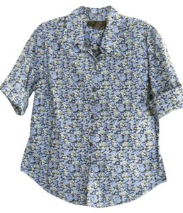Express Roll Tab Short Sleeves Shirttail Hem 100% Cotton Top Blue Print