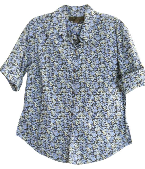 Preload https://img-static.tradesy.com/item/3409825/express-blue-print-black-and-flower-printed-cotton-stretch-shirt-blouse-size-12-l-0-0-650-650.jpg